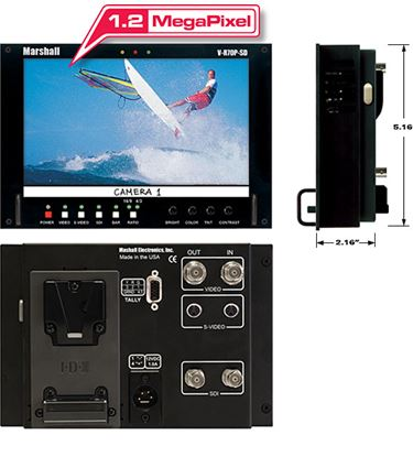 Picture of V-R70P-HDSDI-AB HD 7' Wide Screen LCD Monitor with HDSDI/SD Input and Anton Bauer Battery Mount